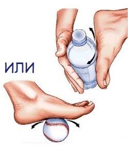 Упржанение с бутылкой от боли в пятке