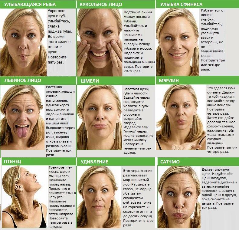 Упражнения для удаления морщин на лице